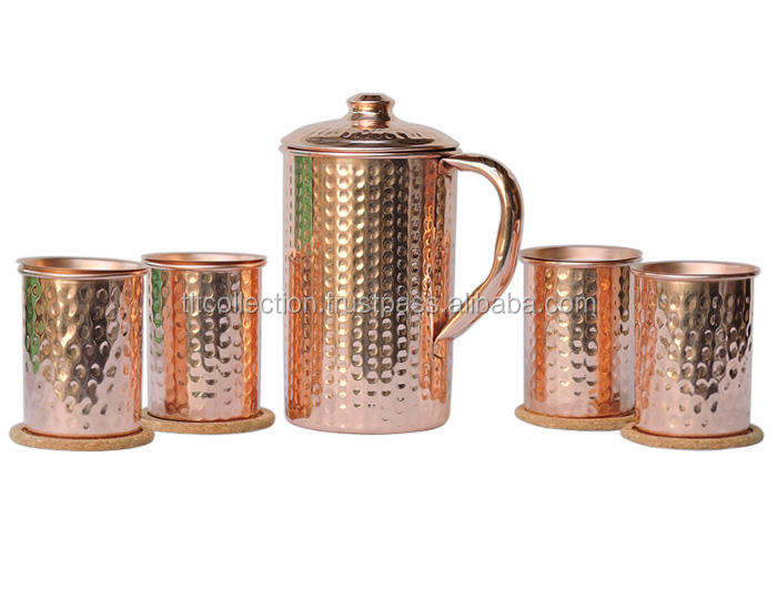 Copper mini moscow mule tumbler/ Copper Pitcher, Jug, Hammered Pitcher, With Copper Glasses