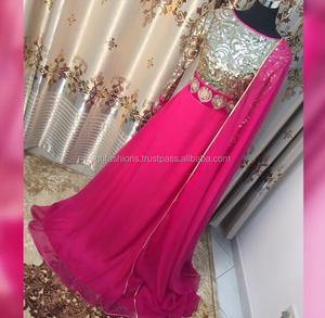 Asian Hot pink Sequin party wear designer gown 2016-2017