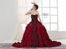 Red French Style Princess Wedding Dress