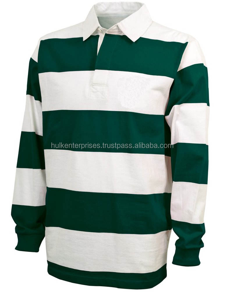 100% Cotton Heavyweight 250-270 Gsm Long Sleeve White Green Rugby Jersey
