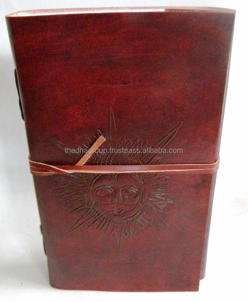 Sun Face Leather Diary Handmade vintage embossed strap closure leather notebook