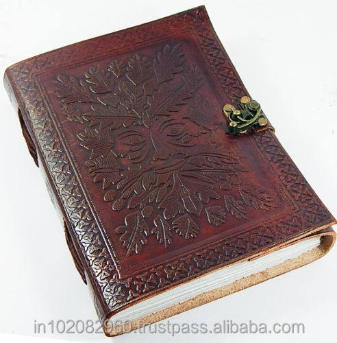 Reliëf 6x8 Greenman Leather Journal of note met Slot voor gift hem of haar