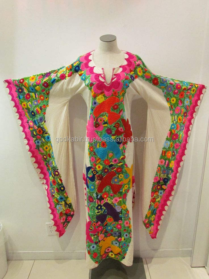 New Collection Of Bohemian w/Mexican Embroidery Ladies embroidery kaftan / women cotton kurta & tunic kaftan dress