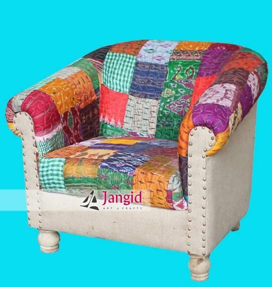 Low Rise sólo indio yute de la sala sofás de patchwork tapicería de muebles