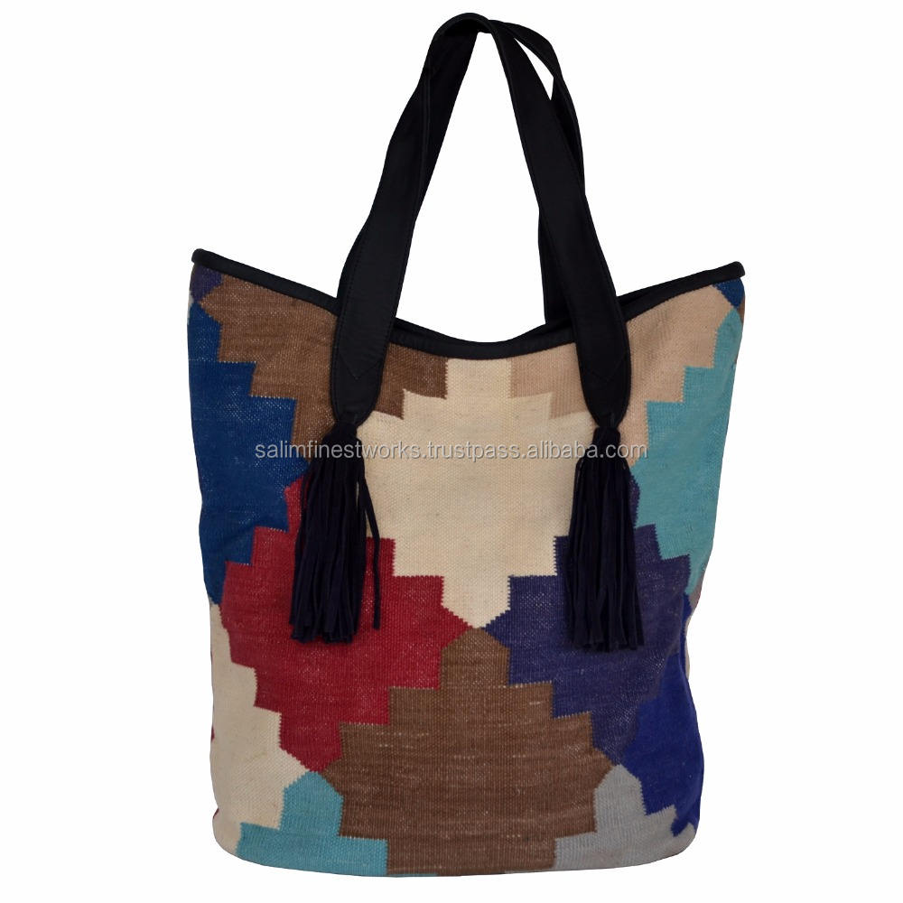 Women Genuine Woman Handmade Vintage Jute Bag Carpet, Rug, Kilim Bag Buffalo Leather Shopper Shoulder Bag New look design Bag