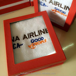 Gift towel with logo in nice box designed for airline