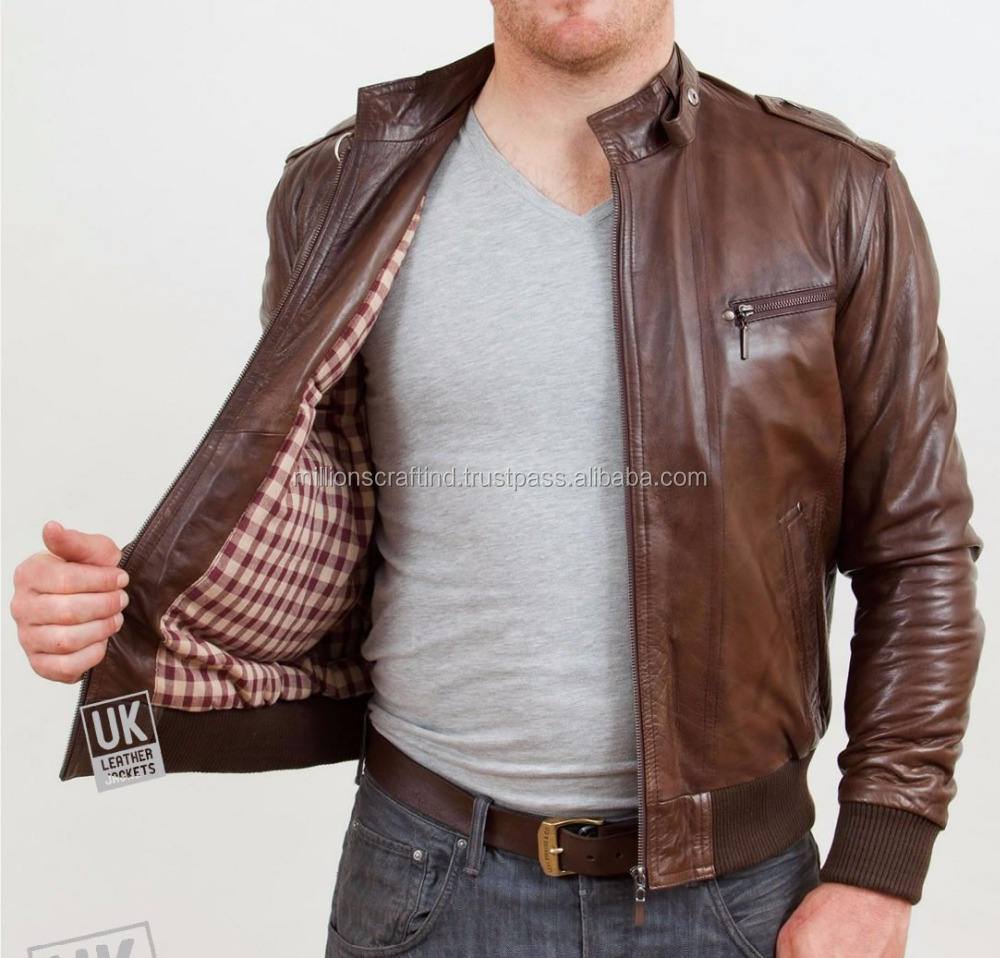 Garment Washed PU Jacket Color Brown PU Leather Jacket for Man
