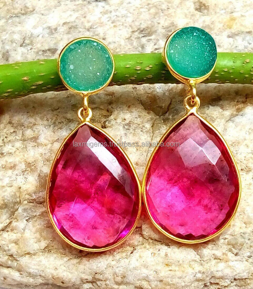 Green <span class=keywords><strong>Druzy</strong></span> & Hot Pink 925 Sterling Zilveren Ronde & Peervorm Facet Gemstone Earring
