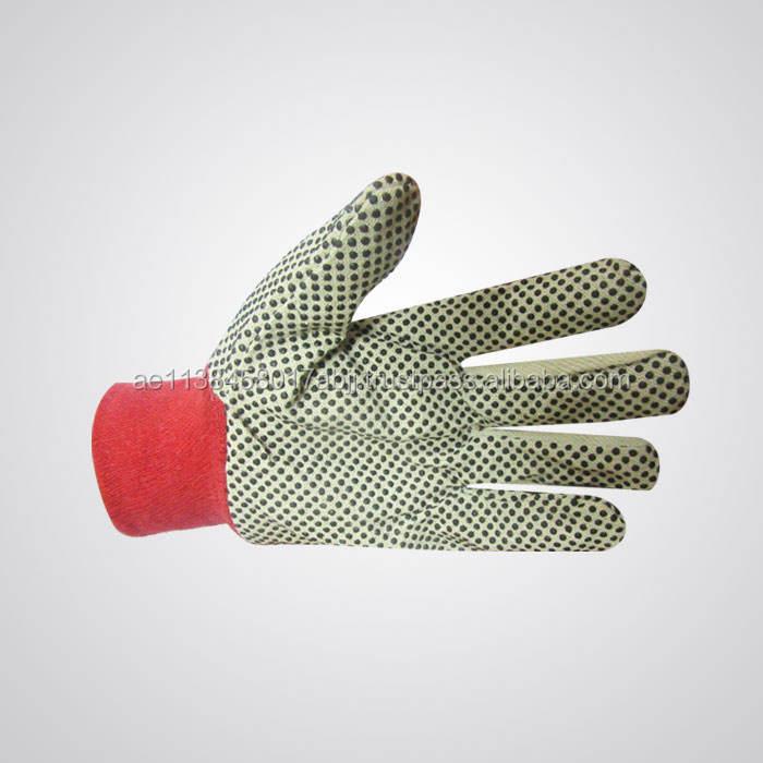 Polka Dot Cotton Drill Gloves Safety Gloves 100% Cotton Elastic Wrist 12 Ounce Qadri and Qureshi(Q&Q)