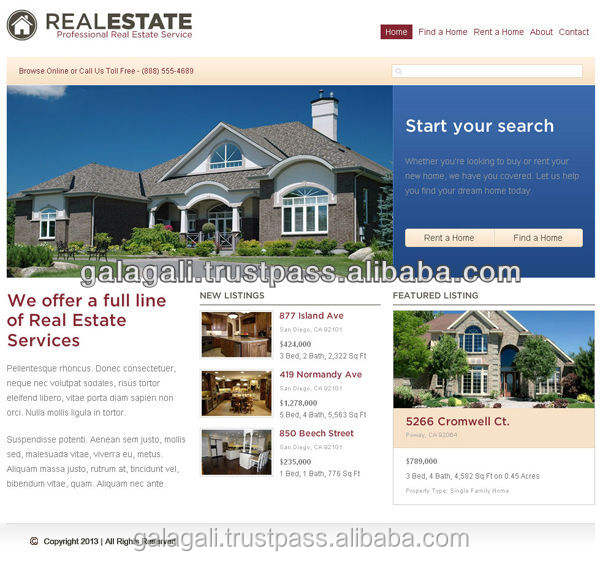Mobile Portal B2B Website Template Design and Development Service for Real Estate with SEO