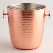 copper hammered antique metal bar & party wine ice bucket
