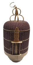 Brown color bamboo bird cage included electric wire, socket and light bulb
