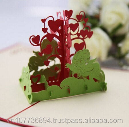 Love tree handmade pop up 3D paper greeting cards