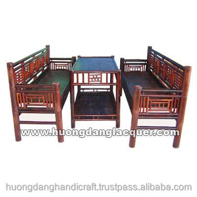 Set of table & sofa chair made of bamboo as living room furniture
