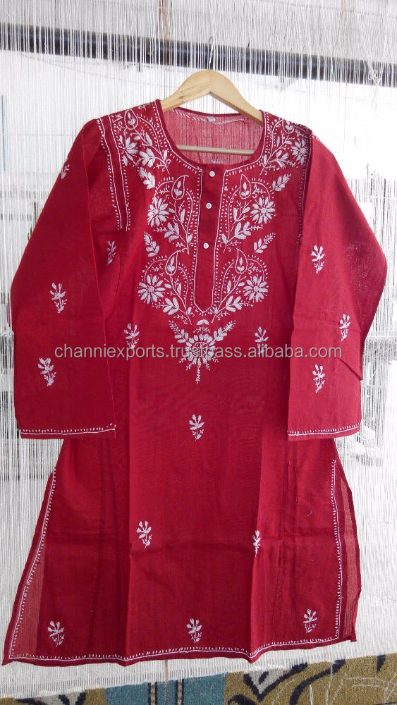 100 % Cotton colorfull Indian chikan hand embroidery tunics blouses