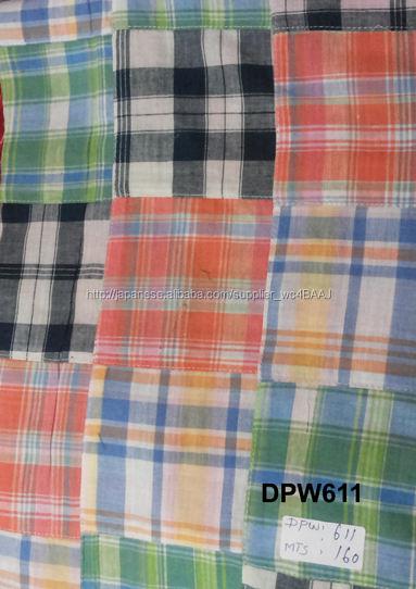 チェンナイ(マドラス)2015プレイドパッチワークの布
