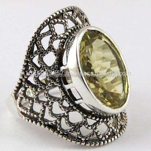Precioso profundo de limón topacio 925 anillo de plata esterlina, hecho a mano de plata de la <span class=keywords><strong>joyería</strong></span>