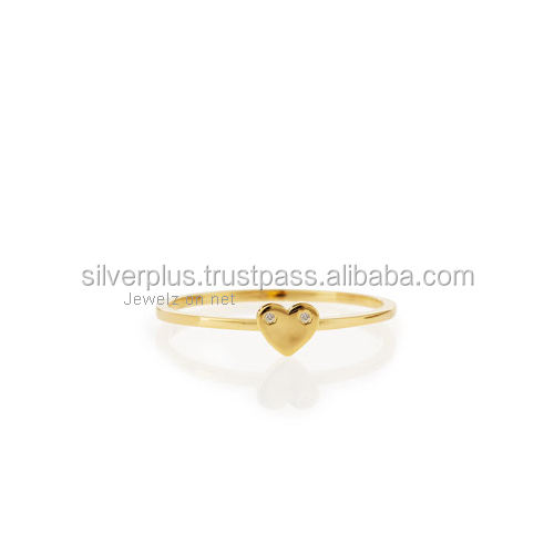 14k Solid Gold Two Piece Diamond Heart Ring, Available in 3 Color Gold