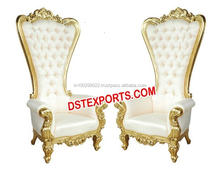 Indian Wedding Bridal Chairs Golden Throne Brass Metal Chairs High Back Wooden Carved Wedding Chairs