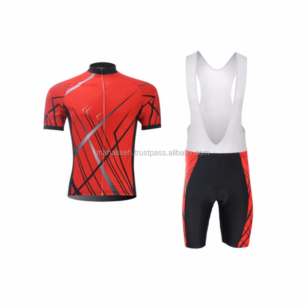 Black White Long Sleeve Cycling Jersey And Bib Pants Kit
