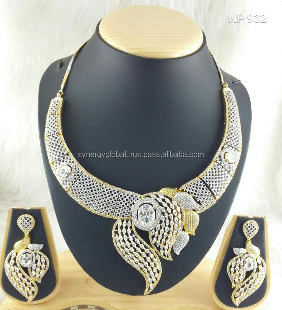 Designer American Diamond CZ light weight necklace - Bollywood style necklace set- Indian imitation jewellery