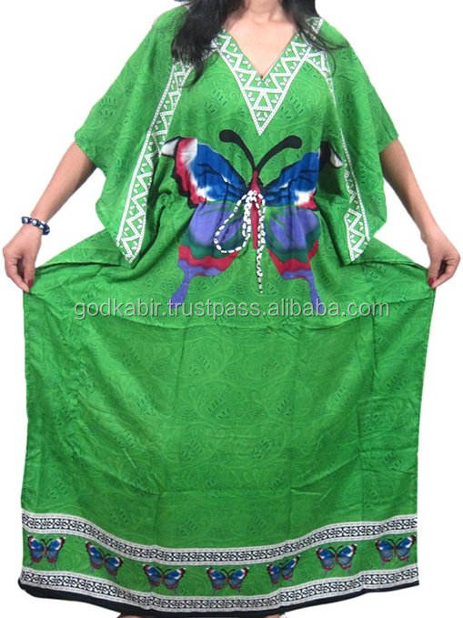 Women'sWomen's Kaftan Caftan Beach Green Printed Kimono Dress One Size/Royal design multi Color Popular Short Kaftan.