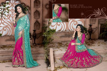 Shrewd Magenta Bemberg Net With Double Blouse Designer Saree/fancy saree blouse designs/wholesale saree