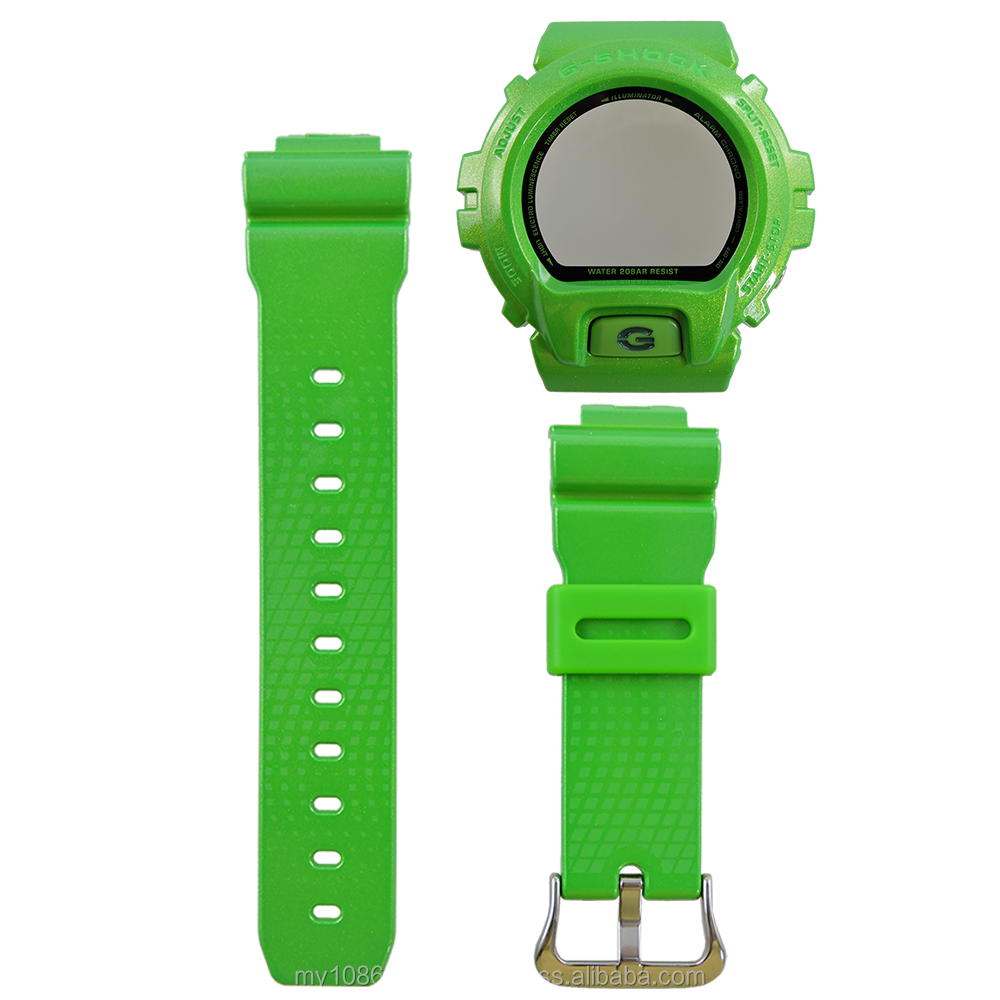Casio G-Shock DW-6900NB-3 Hulk Watch Band and Bezel Resin Green Color