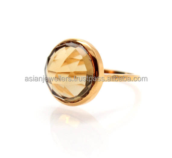 Citrien Quartz Edelsteen 925 Sterling Zilveren Ring Goud Vermeil