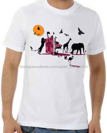 100% Puro Algodão Cor Branca T-Shirt com Impressão Agradável