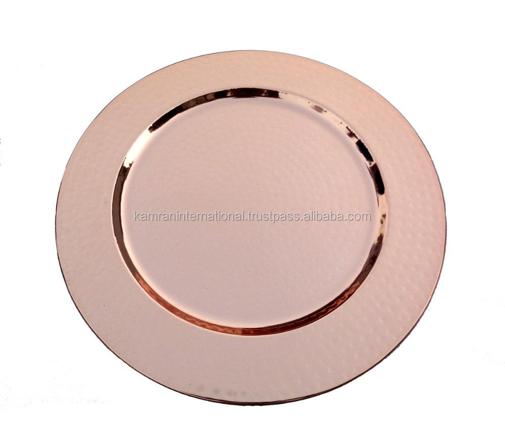 WEDDING DECORATION ROUND SHAPE COPPER PLATED HAMMERED CHARGER PLATE