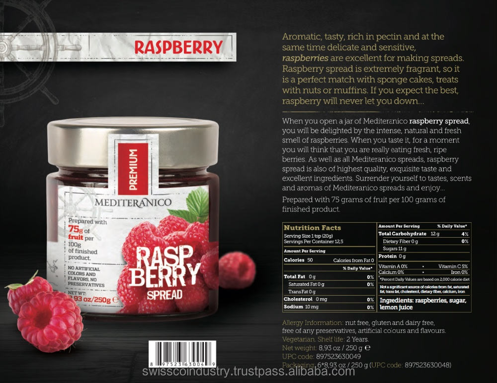 RASPBERRY JAM CONFITURE PREMIUM 100% FRUITS JAM