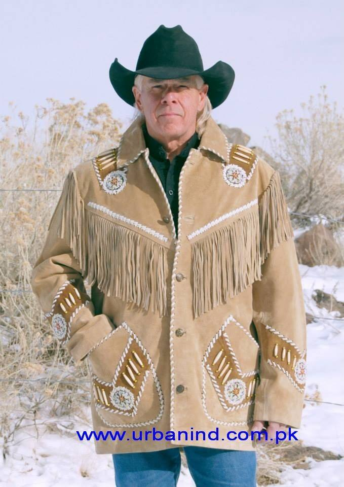 Womens Western Jacket Cream Suede Leather Fringe Native American Style Cowboy