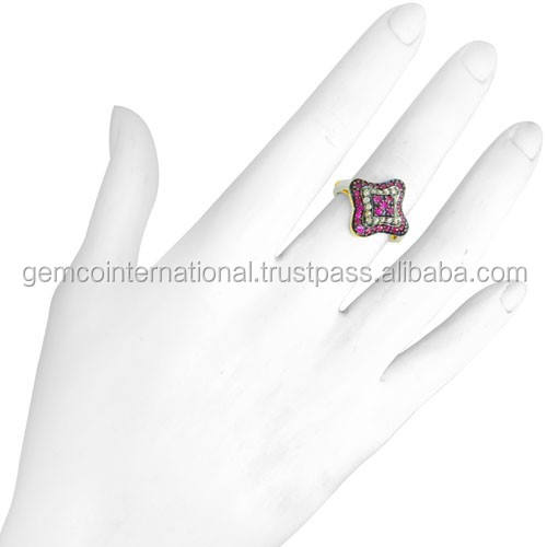 925 Sterling Silver Ruby Gemstone 링 Natural Pave diamond Yellow 금 제 보석 manufacturer