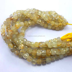 faceted cube box shape beads natural rutile quartz gemstone beads