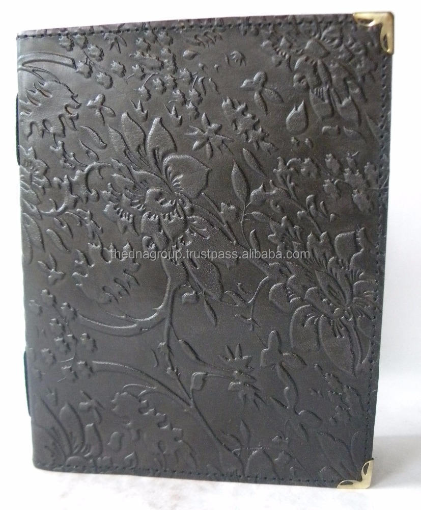 Black Color Diary with Leaf Design Handmade vintage embossed leaf design with card sheet paper leather notebook