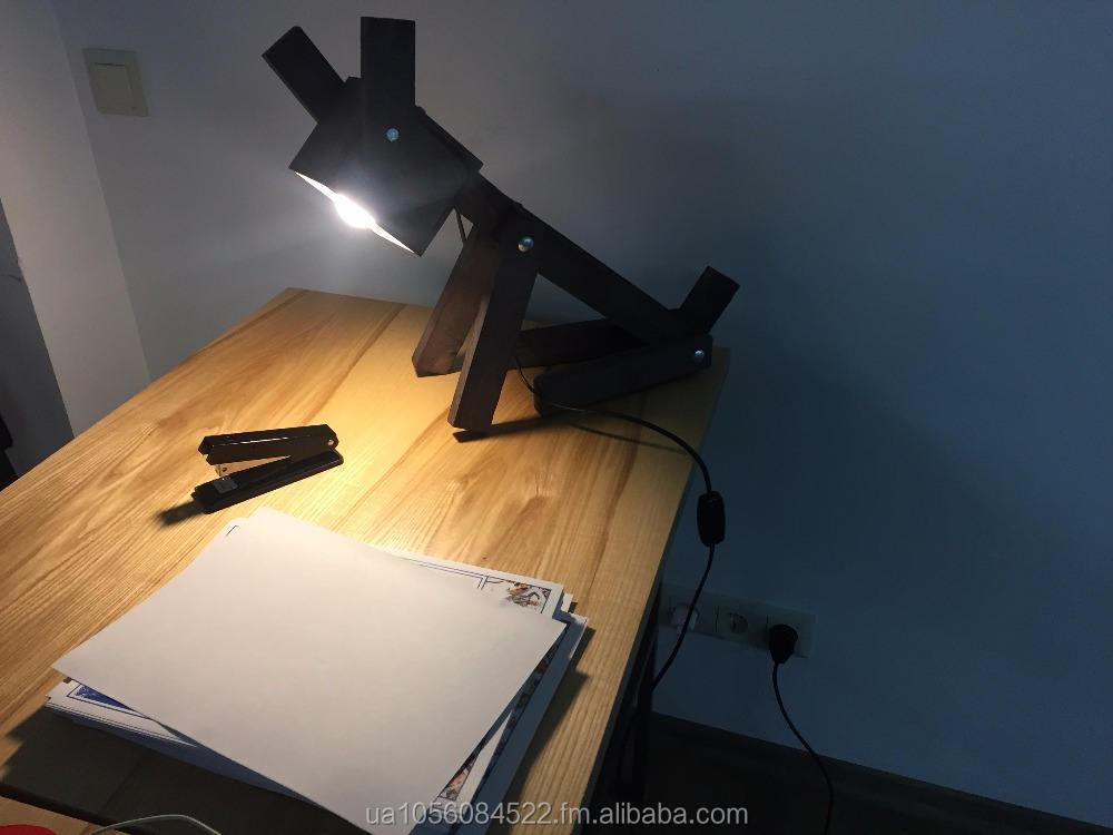 Wood Lamp Table Dog Brown Lighting