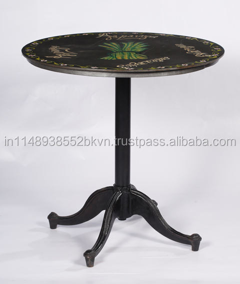 Industrial and Vintage Beautiful Custom Print Iron Round Cafe Table at Sale Price