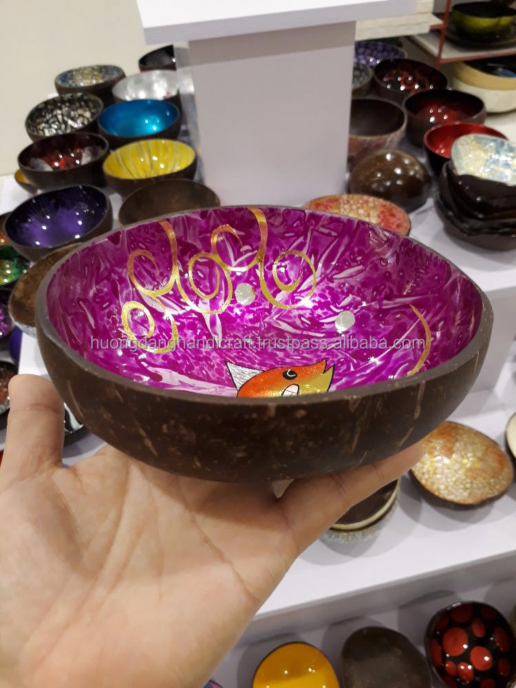 Painted cocos, prestige manufacturer of lacquerware for bowl in Vietnam, competitive price