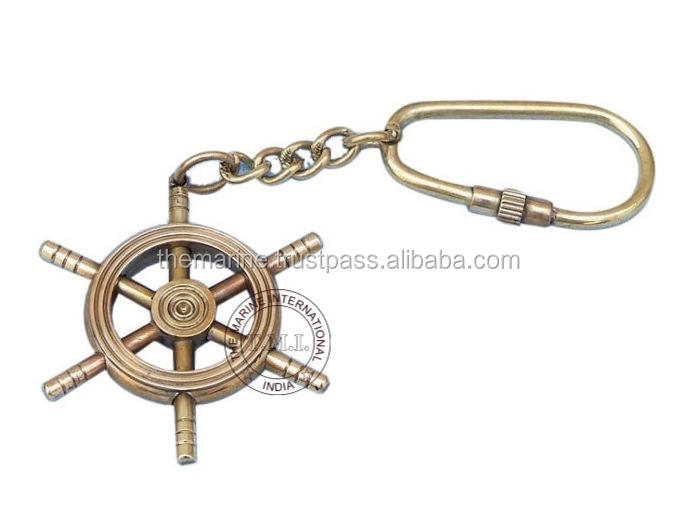 SHIP WHEEL KEYCHAIN - BRASS NAUTICAL KEYCHAIN - MARITIME UNIQUE KEY RING