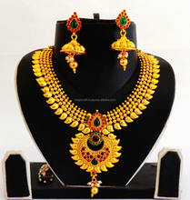 Indian One Gram Gold Plated Necklace Set - Wholesale South indian Bridal Jewelry - Pakistani Wedding Jewelry - Chandelier Set