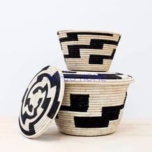 classic African Basket with lid, storage basket / clothing basket