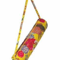 Indian Yellow Kantha Flower Printed Yoga Bags Cotton Designer Shoulder hippie Bag