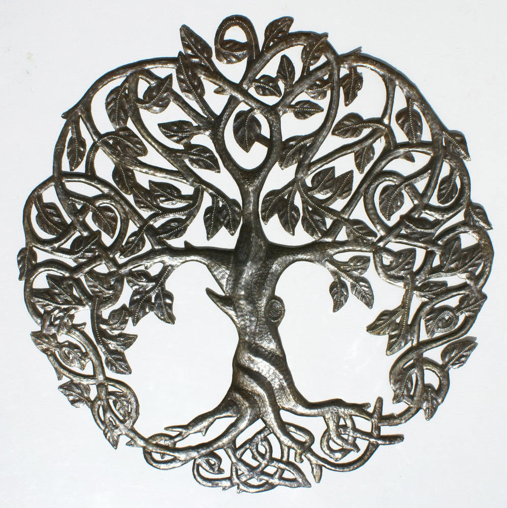 Tree of Life Metallo Wall Art Decor Oil Drum Art Ornamento Sculture Interna ed Esterna Al Dettaglio e All'ingrosso, formato 24