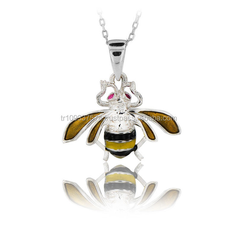 14K Solid Gold Yellow Black Enamel Bee Pendant Necklace