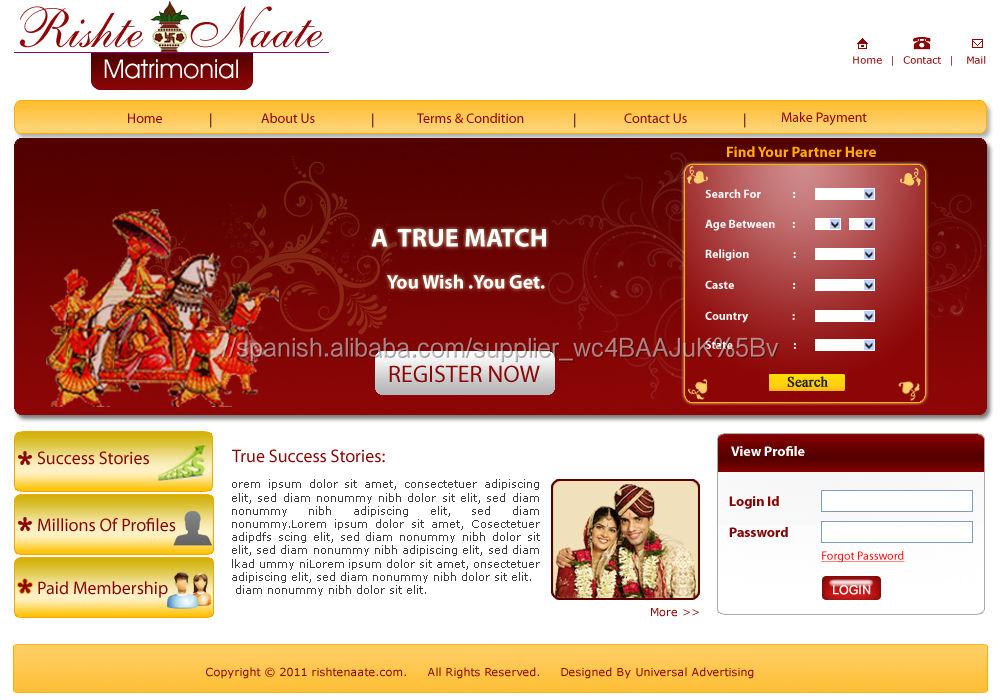 Matrimonial Software, php script matrimoniales en el precio barato