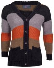 Mohair Striped Cardigan with Buttons