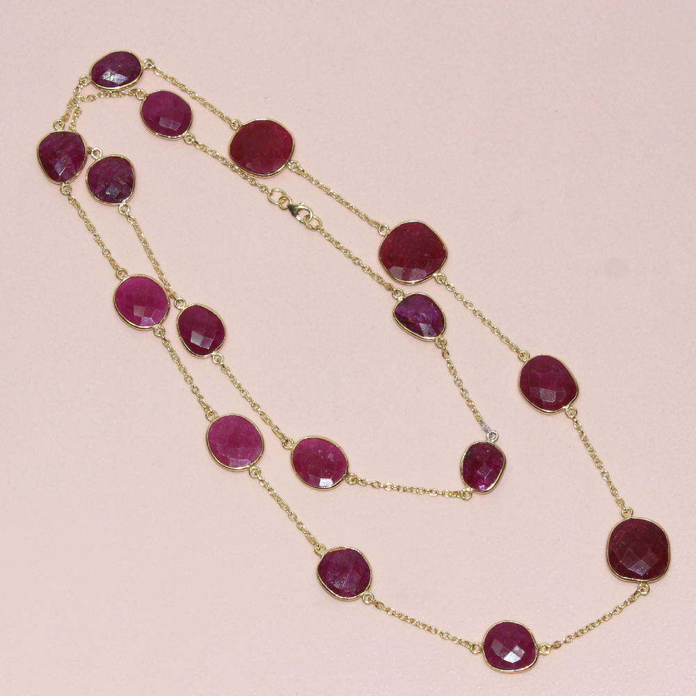 Dyed Ruby Round Shape 925 Sterling Silver Necklace