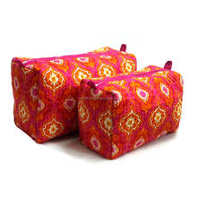 Cotton pink geometric cosmetic bag
