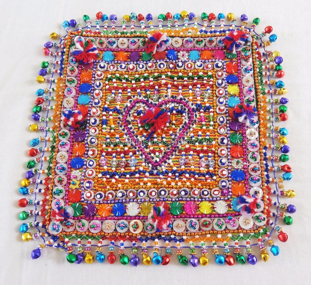 Vintage Pearl Bead Afghani Patch-Glass Beads Beaded Patch-Vintage Button Work patch